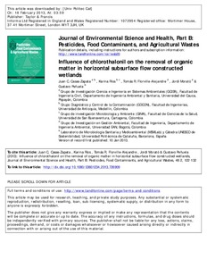 Influence of chlorothalonil on the removal of organic matter