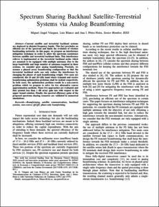 Spectrum sharing backhaul satellite-terrestrial systems via