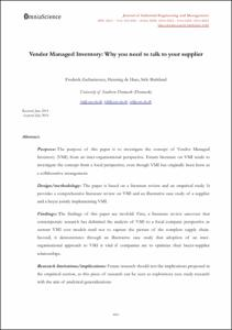 literature review of vendor managed inventory papers In addition, the literature is reviewed on vendor managed inventory and  of papers reported the coordination mechanism in a two-level sc.