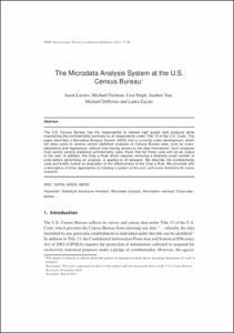 The microdata analysis system at the u s census bureau for Census bureau title 13