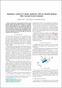 Impedance control of a planar quadrotor with an extended