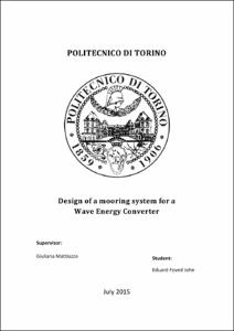 POLITECNICO DI TORINO Design of a mooring system for a Wave