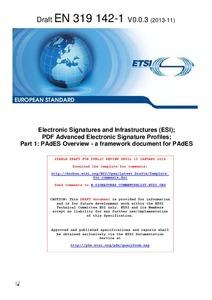 ETSI EN 319 142 Part 1 (Draft):