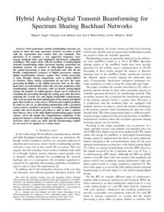 Hybrid analog-digital transmit beamforming for spectrum sharing